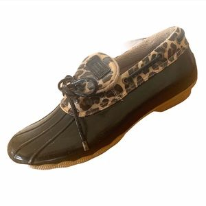 Sperry Duck Shoe Leopard Print Cormorant 9